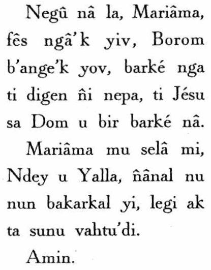 Je Vous salue Marie en wolof - Wolof Hail Mary
